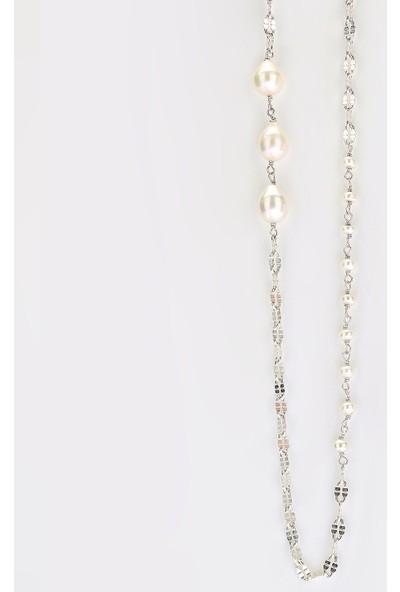 Sufi Design, Has Gümüş Kaplama Büyük Boy Gerçek Yaprak, Gümüş İncili Kolye Hbr3263