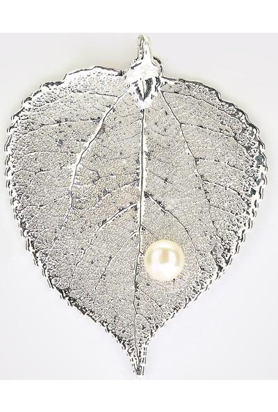 Sufi Design, Has Gümüş Kaplama Büyük Boy Gerçek Yaprak, Gümüş İncili Kolye Hbr3270