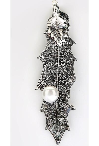 Sufi Design, Has Gümüş Kaplama Küçük Boy Gerçek Yaprak, Gümüş İncili Kolye Hbr3227