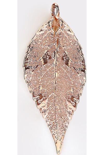 Sufi Design, Rose Kaplama Orta Boy Gerçek Yaprak, Gümüş İncili Kolye Hbr3295
