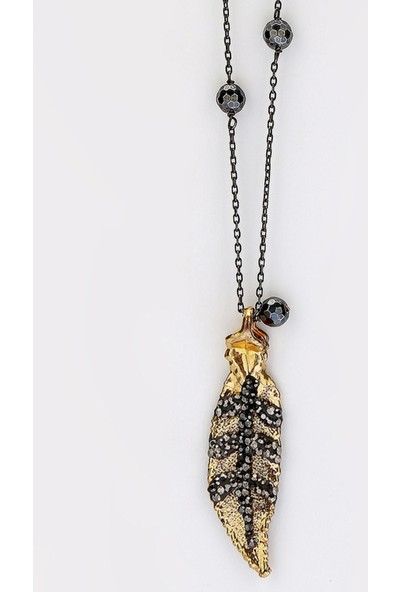 Sufi Design, Orta Boy Gerçek Yaprak 24K Altın Kaplama, Yaprak Üzeri Kristal Taş Kaplı, Onix Taşlı Gümüş El Örgü Zincirli