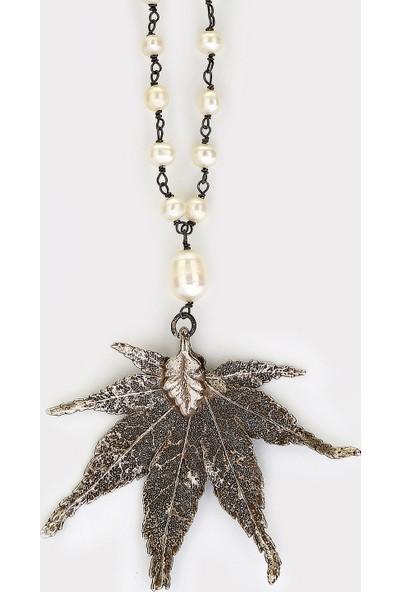 Sufi Design, Orta Boy Gerçek Yaprak Has Gümüş Kaplama, Gümüş El Örgüsü İncili Zincir