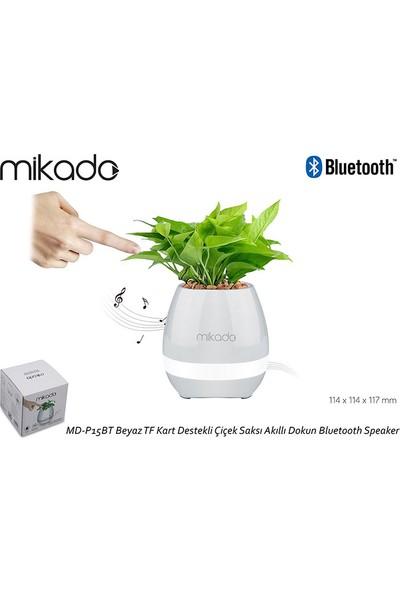 Mikado MD-P15BT Beyaz TF Kart Destekli Çiçek Saksı Akıllı Dokun Bluetooth Speaker
