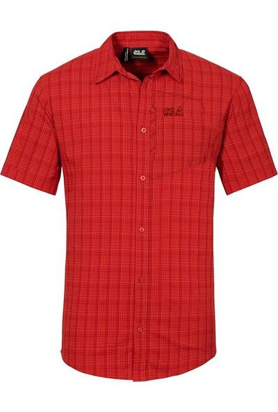Jack Wolfskin Rays Stretch Vent Shirt Erkek Gömlek 1401552 / Fiery Red Checks