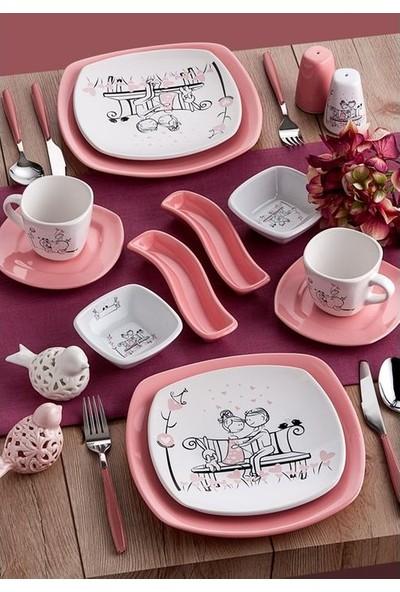 Keramika Tatlı Düş Kahvaltı Takımı 14 Parça 2 Kişilik