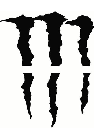 Far İçin Monster Pençe - Oto Sticker - 30x26 cm Siyah