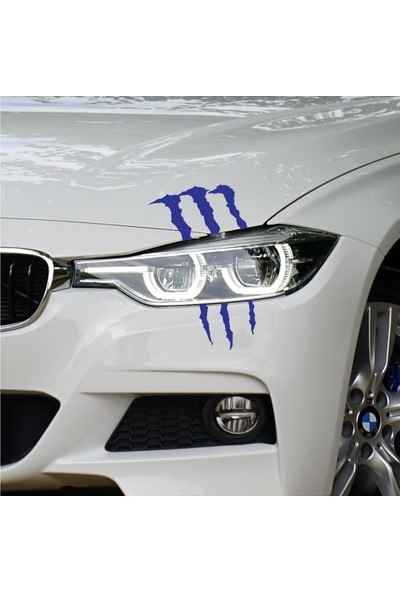 Far İçin Monster Pençe - Oto Sticker - 17x20 cm Mavi