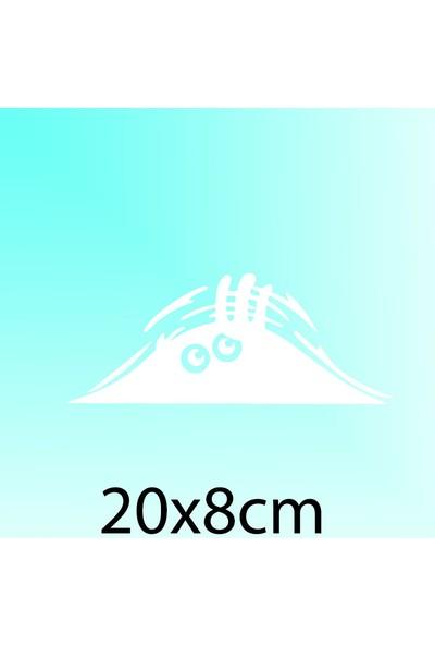 Bagajdan Bakan Adam - Oto Sticker - 20x8 cm Beyaz