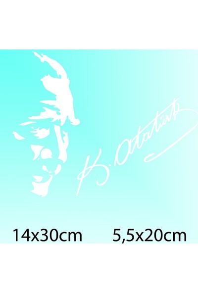 Atatürk Silüet + İmza - Oto Sticker