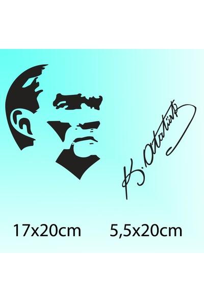 Atatürk Silüeti + İmza - Oto Sticker
