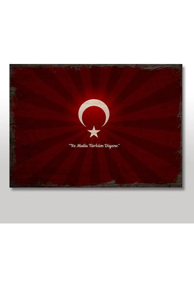 Tablomega Ahşap Tablo Bayrak Atatürk Sözü