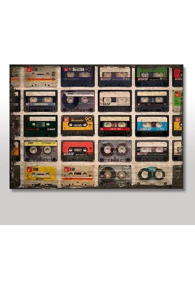 Tablomega Ahşap Tablo Nostaljik Müzik Kasetler