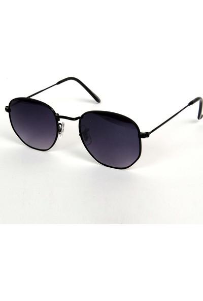 Modaroma Altıgen Siyah Cam Unisex Güneş Gözlüğü