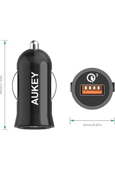 Aukey 1portlu Araç İçi Hızlı Şarj Cihazı Qualcomm 3.0 ve 1mt Micro USB kablo