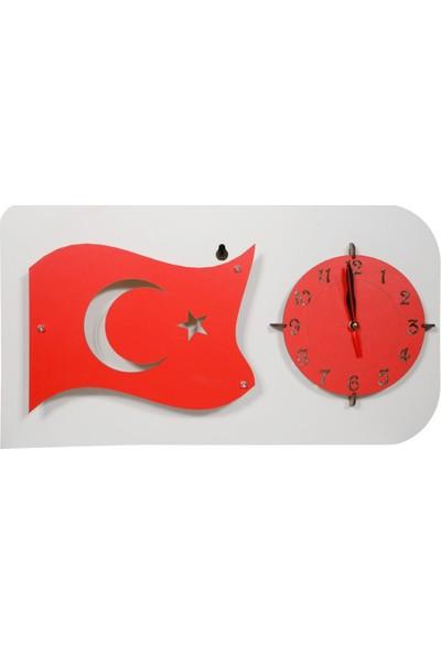 BahatTedarik Dekoratif Hediyelik Ahşap Türk Bayrağı Duvar Saati