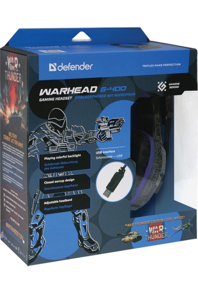 Defender Oyuncu Kulaklık Warhead G-400 Rgb Siyah/Mor 2.1M - 64145