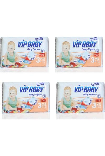 Bebiko Vip Baby Bebek Bezi Active & Soft Midi 3 Beden 144 Adet
