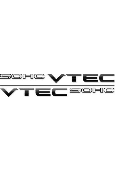 Otografik - Honda Vtec Sohc Oto Sticker Set 40X3Cm Siyah