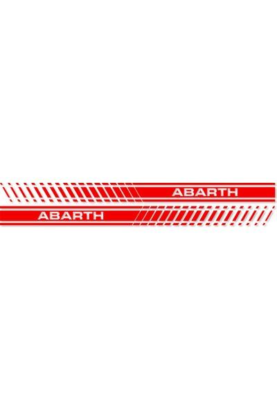 Otografik - Yarış Şeridi Oto Sticker Sağ-Sol Set - Fiat Abarth 188X13Cm Kırmızı