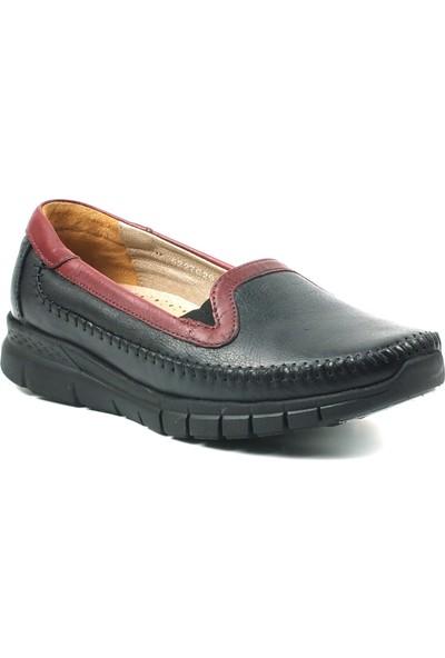 Forelli 29423 Kadın Siyah Deri Comfort Ayakkabı