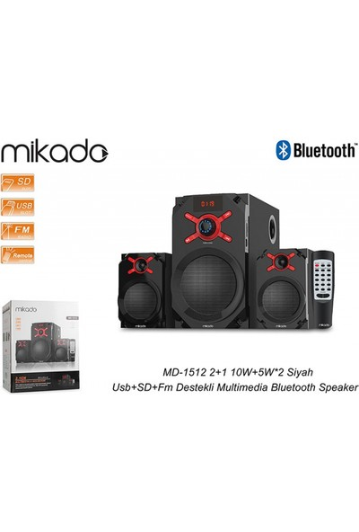 Mikado Md-1512 2+1 10W+5W*2 Siyah Usb+Sd+Fm Destekli Multimedia Bluetooth Speaker