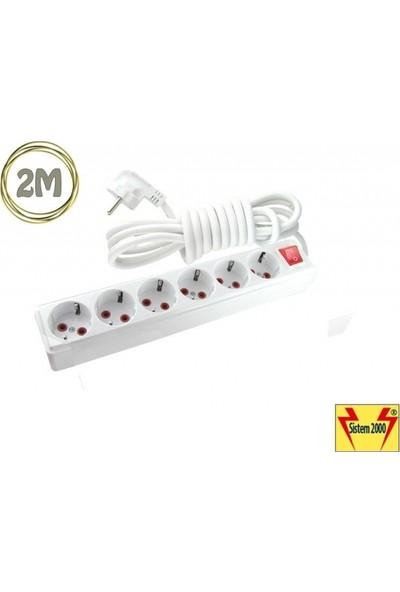 Sistem 2000 6 Lı 2 Metre Anahtarlı Çoklu Priz