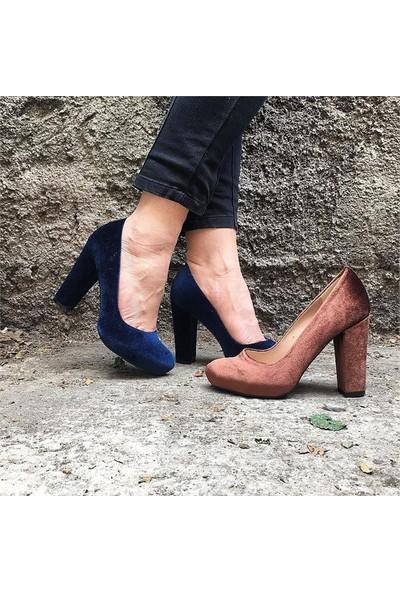 Shop and Shoes Bayan Ayakkabı Lacivert Kadife 162-525