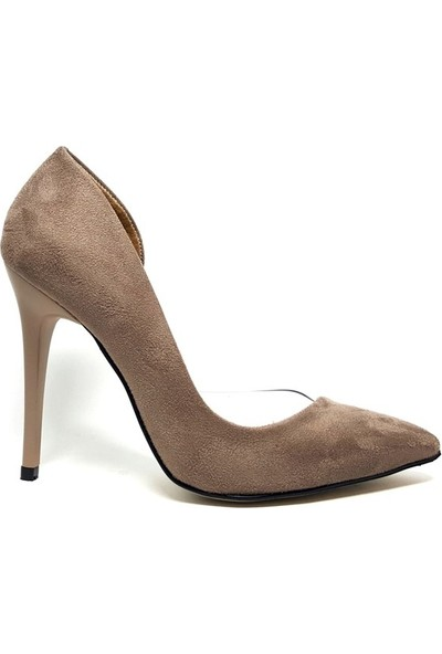 Shop and Shoes Bayan Stiletto Vizon Süet 100-1964