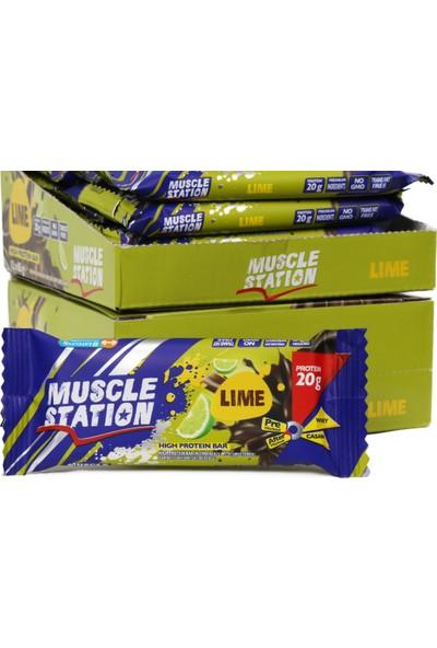 Musclestation 12'li Kutu 65gr Protein Bar (Whey & Casain) Lime