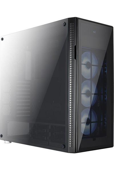 Aerocool Quartz Pro USB 3.0 RGB Led Fanlı ve Güçlendirilmiş Camlı Siyah ATX Oyuncu Kasası (AE-QRTZ-PRO)