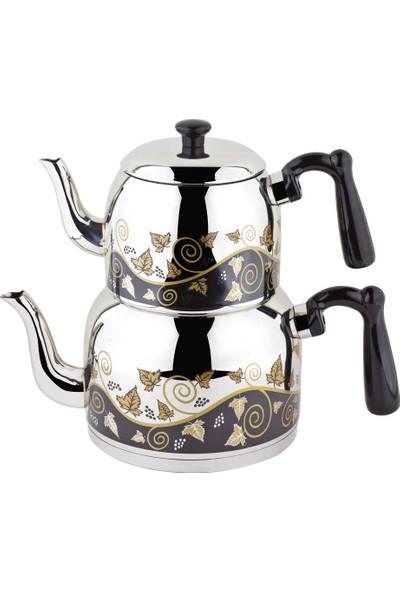 Özkent Menekşe Mega Desenli Çaydanlık Siyah