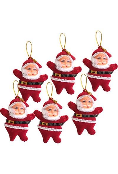 Yılbaşı Kırmızı Noel Baba Ağaç Süsü 6lı