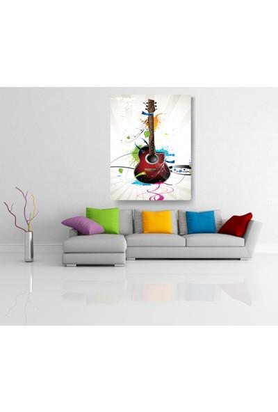 Evdeka Renkli Gitar Desenli Kanvas Tablo
