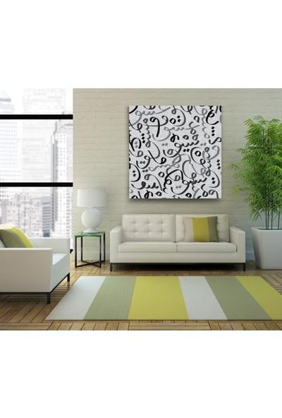 Evdeka Çizgi Arapça Desenli Kanvas Tablo