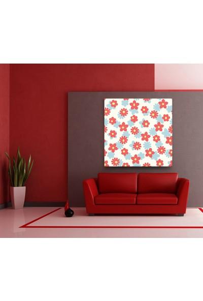 Evdeka Kırmızı Papatyalar Desenli Kanvas-Tablo
