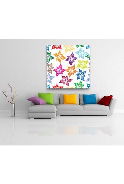 Evdeka Baharın Renkli Yaprakları Desenli Kanvas Tablo