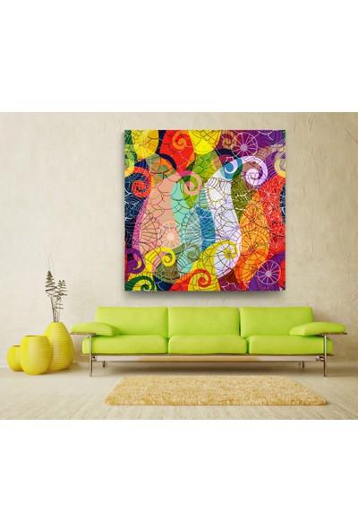 Evdeka Renkli Dalgalar Desenli Kanvas Tablo