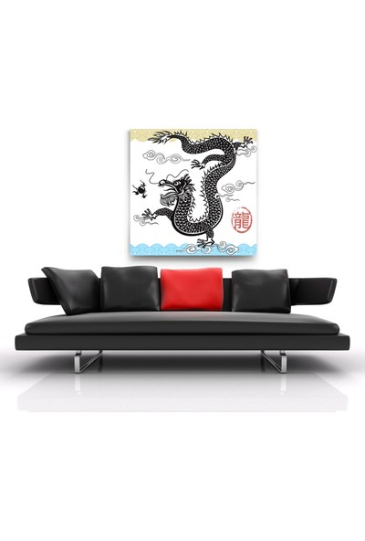 Evdeka Japon Ejderha Desenli Kanvas-Tablo