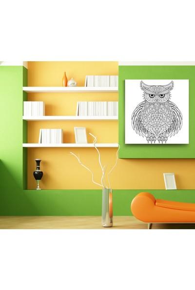 Evdeka Baykuş Çizimli Mandala Kanvas Tablo