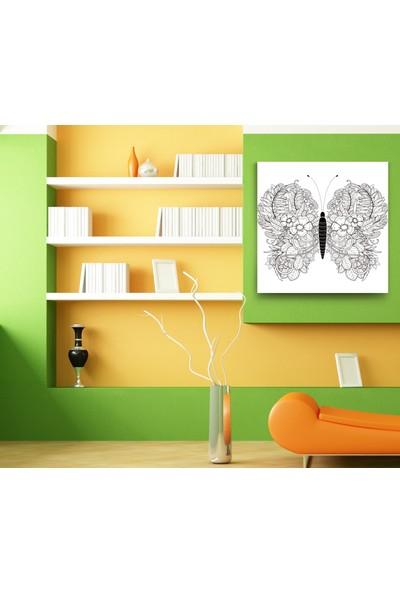 Evdeka Kelebek Çizimli Kanvas Tablo