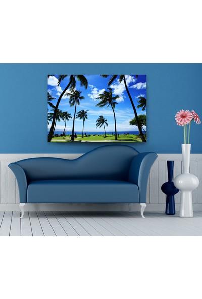 Evdeka Sahildeki Palmiye Temalı Kanvas Tablo
