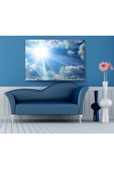 Evdeka Bulutlar İçerisindeki Güneş Temalı Kanvas Tablo