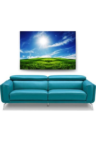 Evdeka Yeşil İle Mavinin Buluşması Temalı Kanvas Tablo