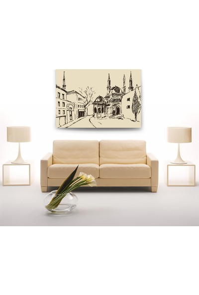 Evdeka Eski İstanbul Camileri Çizimli Kanvas Tablo