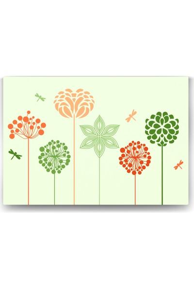 Evdeka Çiçek Ve Kelebek Desenli Çocuk Kanvas Tablo