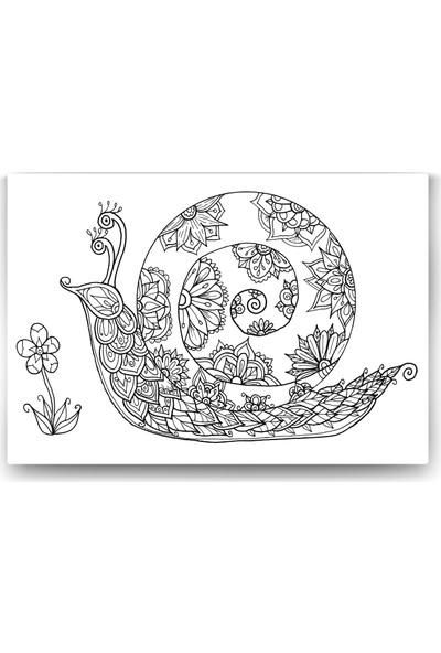 Evdeka Salyangoz Desenli Mandala Kanvas Tablo