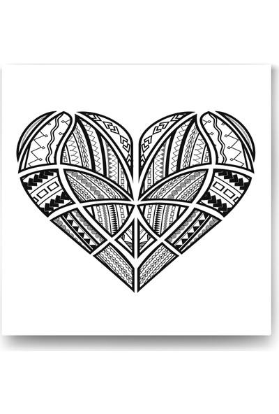 Evdeka Kalp-5 Desenli Mandala Kanvas Tablo