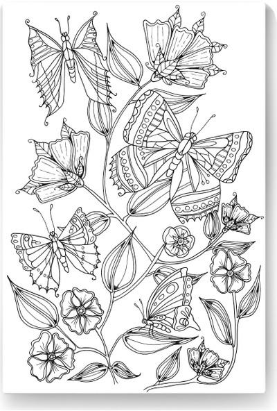 Evdeka Kelebek-2 Desenli Mandala Kanvas Tablo