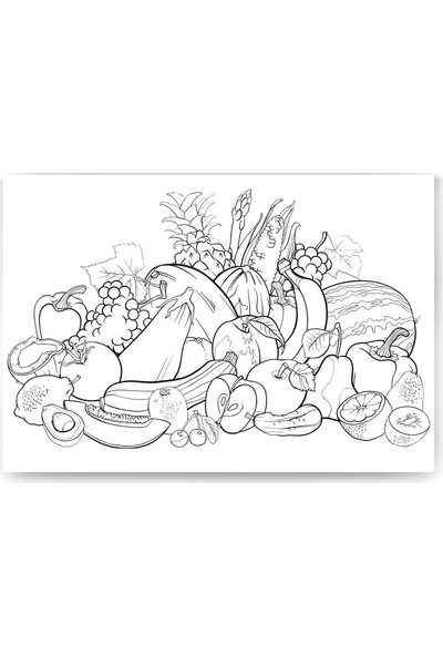 Evdeka Sebzeler Desenli Mandala Kanvas Tablo