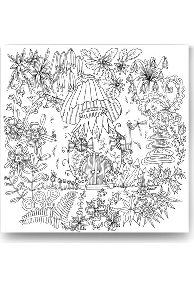 Evdeka Bahçede Ev-3 Desenli Mandala Kanvas Tablo